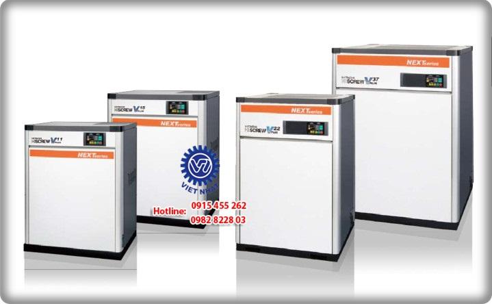 Máy nén khí trục vít ngâm dầu Hitachi 11 - 15kW (15Hp - 20Hp)